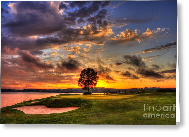 Beautiful Golf Course Greeting Cards - Hole In One Golf Sunset  Greeting Card by Reid Callaway