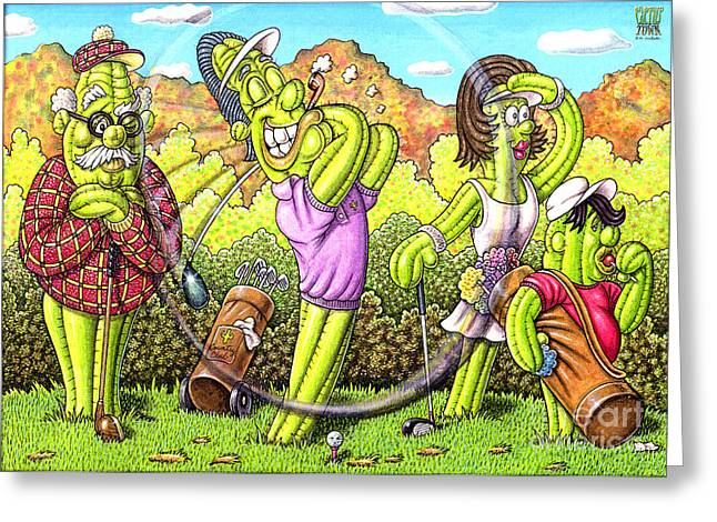 Golf Drawings Greeting Cards - Hole in Paradise Greeting Card by Cristophers Dream Artistry