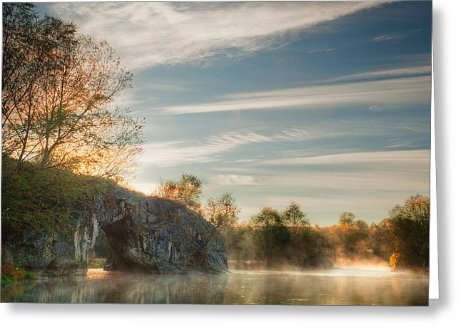 River Mist Greeting Cards - Hole in the Rock Greeting Card by Evgeni Dinev