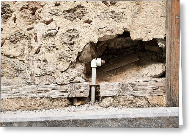 Lining Greeting Cards - Hole in wall Greeting Card by Tom Gowanlock