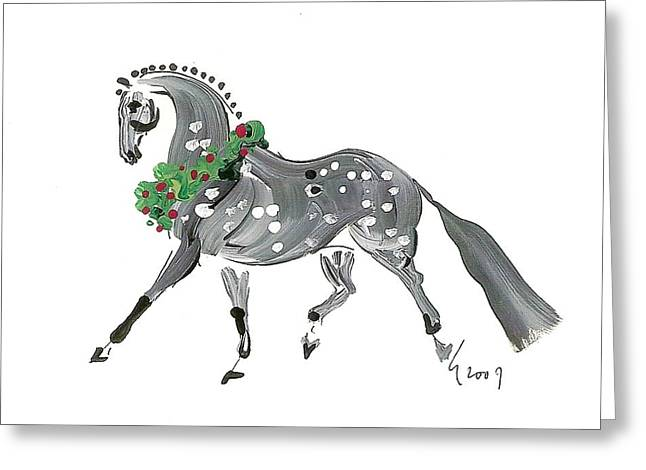 Holiday Gray Greeting Card by Liz Pizzo