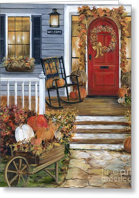 Pumpkin Porch Greeting Card by Marilyn Dunlap