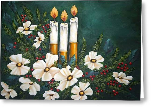 Holly Berry Still Life Greeting Cards - Holiday Light Greeting Card by Ruth Bares