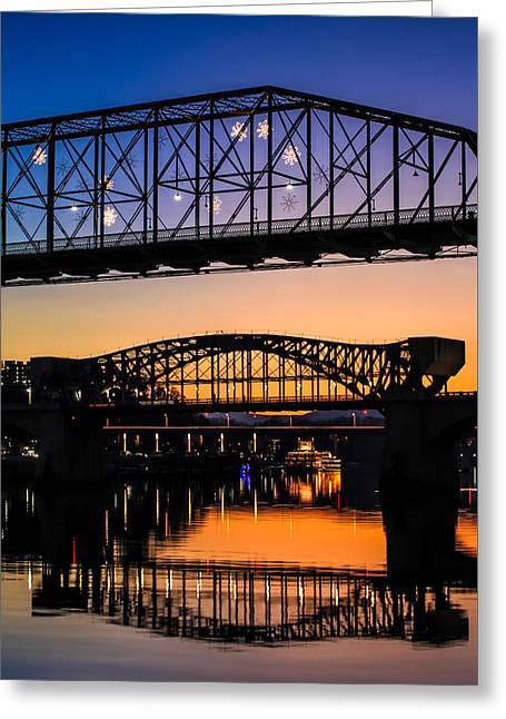Holiday Lights Chattanooga #2 Greeting Card by Tom and Pat Cory