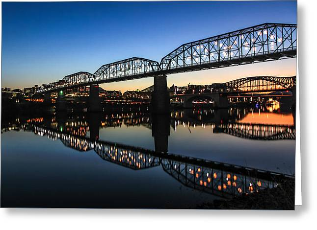 Holiday Lights Chattanooga #3 Greeting Card by Tom and Pat Cory