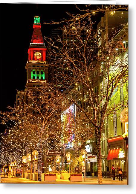 Holiday Lights On 16th Street Mall Denver Greeting Card by Teri Virbickis