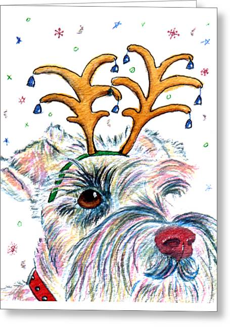 Rudolph Greeting Cards - Holiday Schnauzer Greeting Card by Yvonne Carter