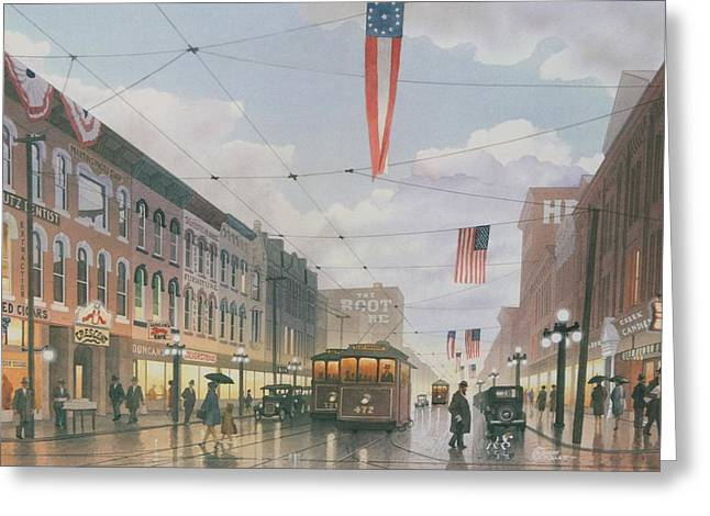 Indiana Scenes Paintings Greeting Cards - Holiday Shoppers Greeting Card by C Robert Follett