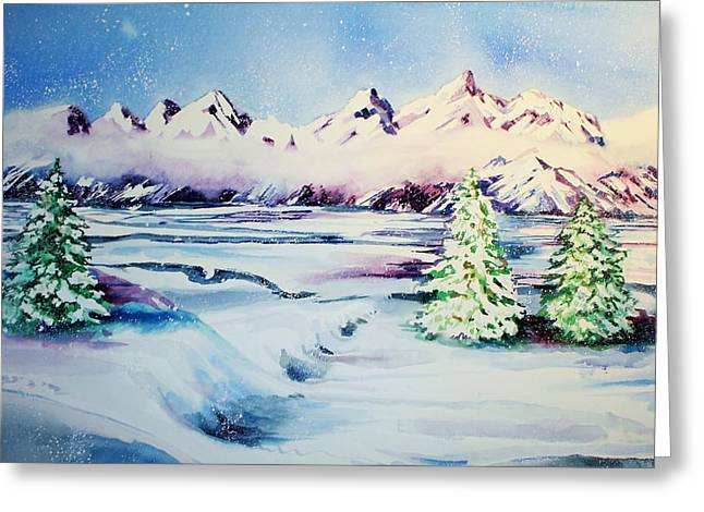 Catherine White Paintings Greeting Cards - Holiday Snow Greeting Card by Catherine Bennett