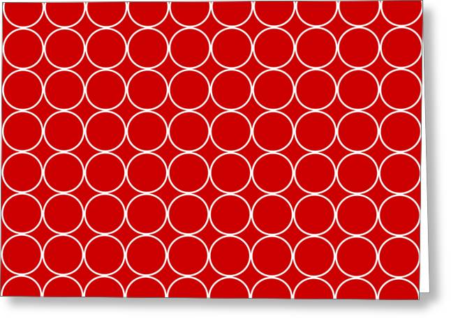 Holiday Themed White Circle On Red Background Design Greeting Card by Greg Noblin