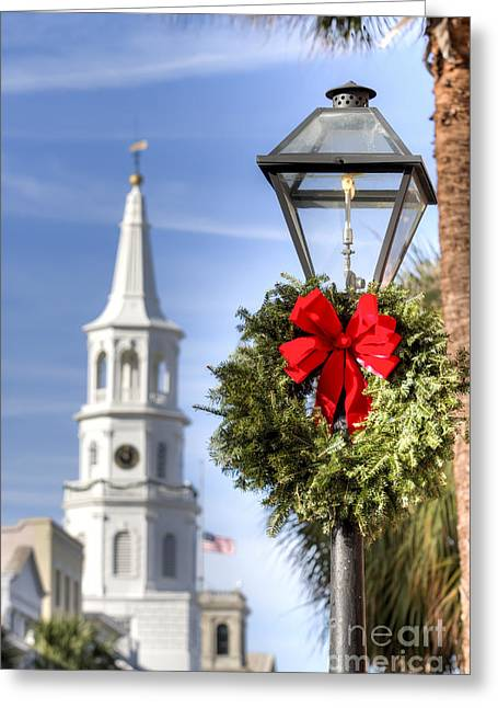 Street Lamps Greeting Cards - Holiday Wreath St Michaels Church Charleston SC Greeting Card by Dustin K Ryan