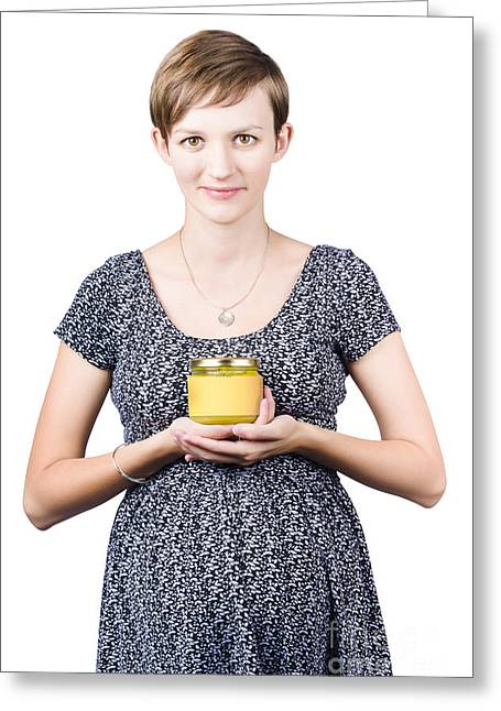 Endorsement Greeting Cards - Holistic naturopath holding jar of homemade spread Greeting Card by Ryan Jorgensen