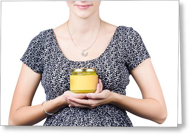 Holistic naturopath holding jar of homemade spread Greeting Card by Ryan Jorgensen