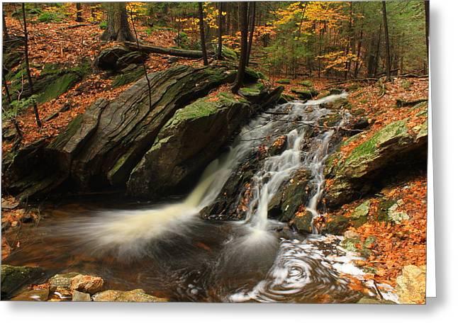 Holland Glen Waterfall In Autumn Greeting Card by John Burk
