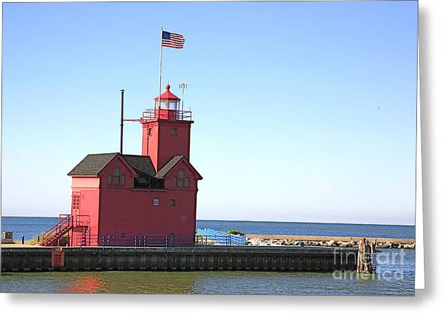Red White And Blue Digital Art Greeting Cards - Holland Mi-Big Red Greeting Card by Robert Pearson