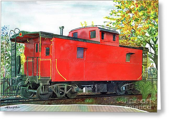 Caboose Paintings Greeting Cards - Holland Michigan Caboose Greeting Card by LeAnne Sowa