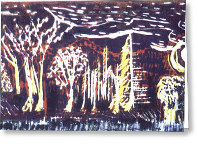 Lino Cut Drawings Greeting Cards - Holloween Night in the Woods Greeting Card by Lloyd Bast