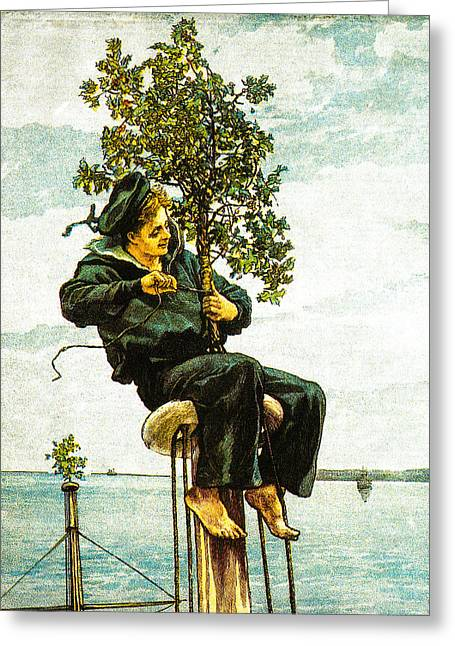 Schooner Greeting Cards - Holly on the Masts 1885 Greeting Card by Unknown