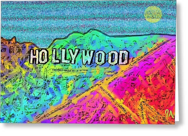 Hollycolorwood Greeting Card by Jeremy Aiyadurai