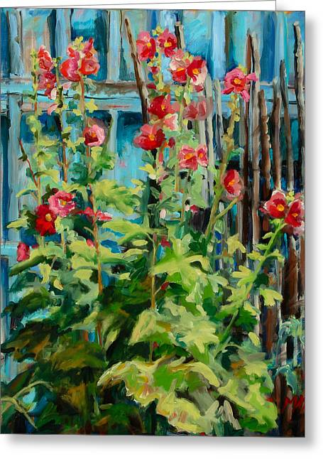 Taos Greeting Cards - Hollyhock Delight Greeting Card by Marie Massey