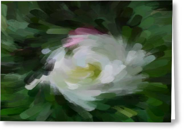 White Digital Art Greeting Cards - Hollyhock Greeting Card by Jacquie King