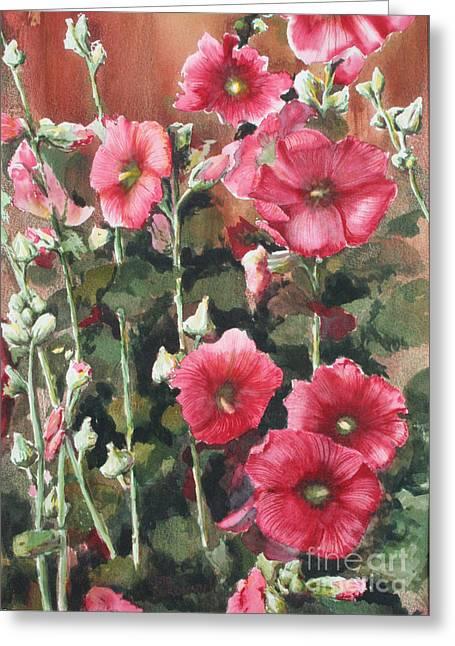 Sokolovich Paintings Greeting Cards - Hollyhocks Along The Fence Greeting Card by Ann Sokolovich