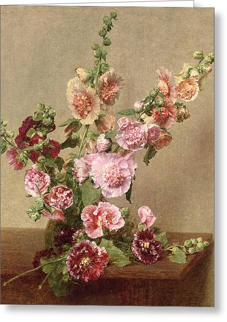 In Bloom Paintings Greeting Cards - Hollyhocks Greeting Card by Ignace Henri Jean Fantin Latour