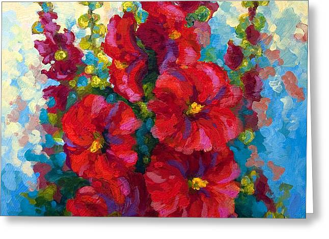 Hollyhocks Greeting Card by Marion Rose