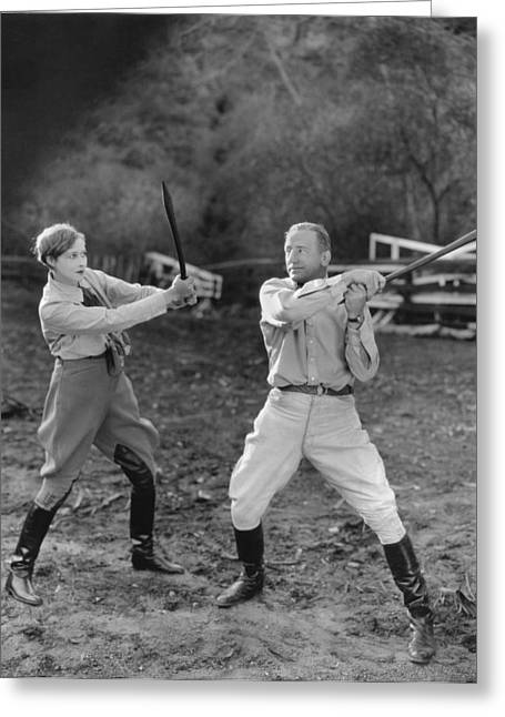Promoters Greeting Cards - Hollywood Battles Greeting Card by Underwood Archives