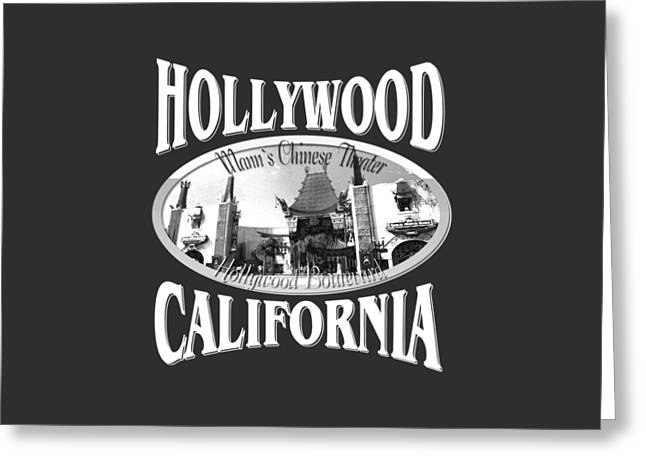 White Tapestries - Textiles Greeting Cards - Hollywood California Greeting Card by Peter Fine Art Gallery  - Paintings Photos Digital Art