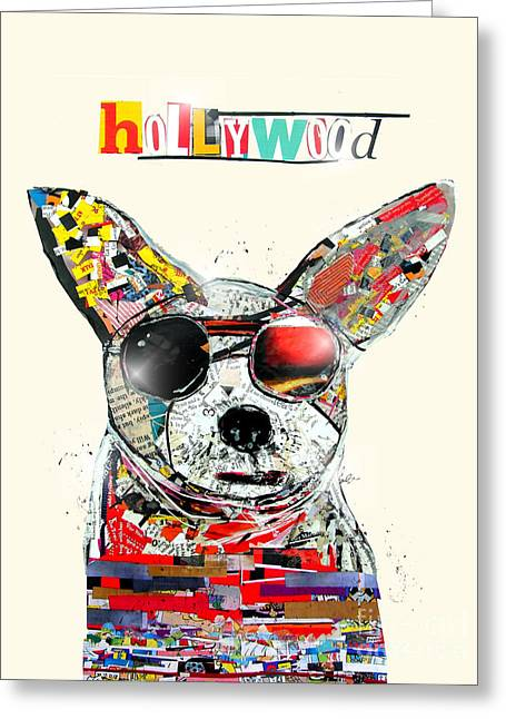 Dog Portrait Mixed Media Greeting Cards - Hollywood Chihuahua Greeting Card by Bri Buckley