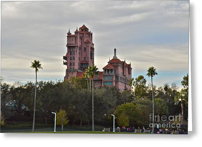 Wdw Greeting Cards - Hollywood Studios Tower of Terror Greeting Card by Carol  Bradley