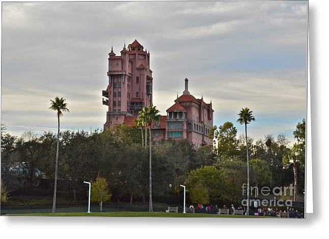 Wdw Greeting Card featuring the photograph Hollywood Studios Tower Of Terror by Carol  Bradley