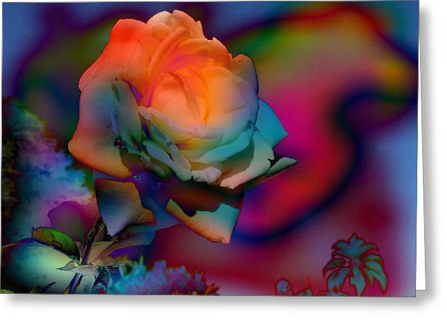 Coloured Greeting Cards - Hologram Rose Greeting Card by Anthony Robinson