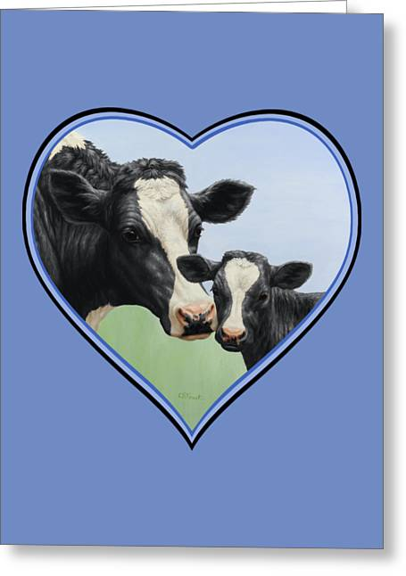 Cow Paintings Greeting Cards - Holstein Cow and Calf Blue Heart Greeting Card by Crista Forest