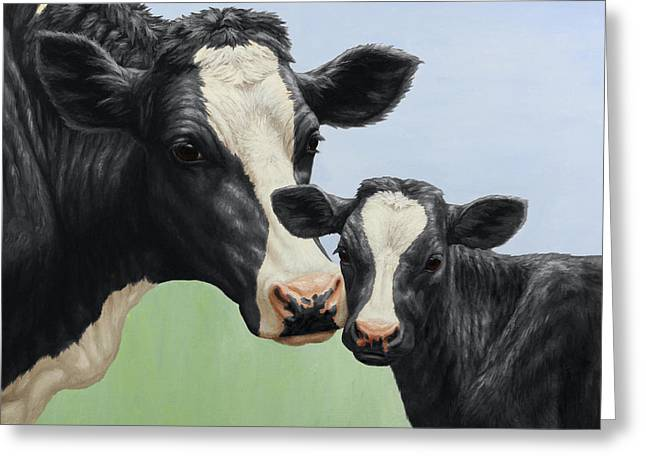 Dairy Cows Greeting Cards - Holstein Cow and Calf Greeting Card by Crista Forest