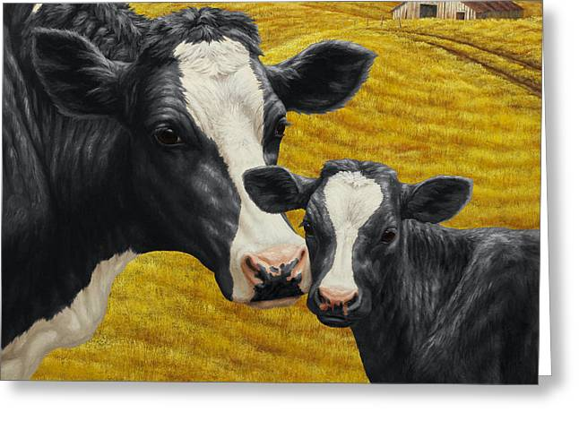 Cow Paintings Greeting Cards - Holstein Cow and Calf Farm Greeting Card by Crista Forest