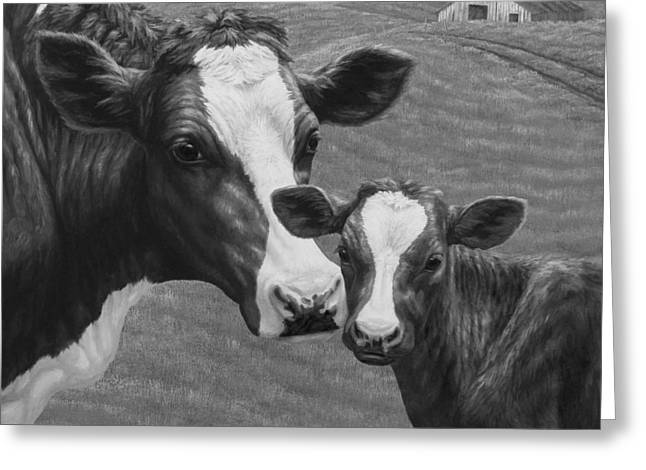 Holstein Cow Farm Black And White Greeting Card by Crista Forest