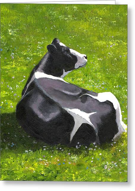 Joyce Geleynse Greeting Cards - Holstein Cow in Pasture Greeting Card by Joyce Geleynse