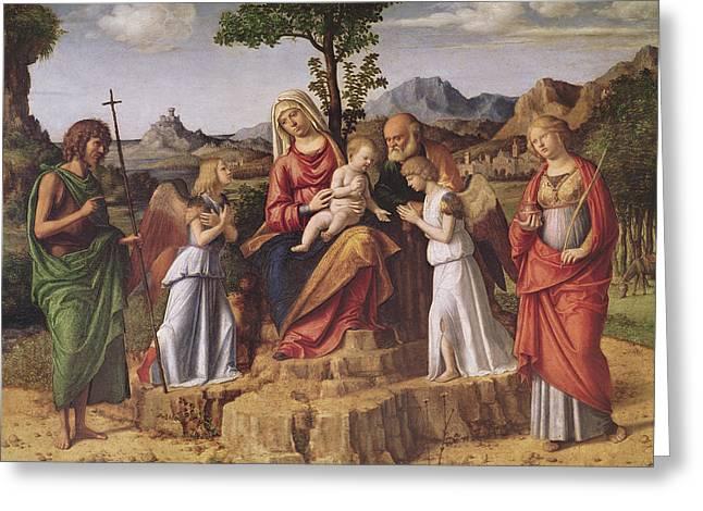 Holy Conversation Greeting Card by Giovanni Battista Cima da Conegliano