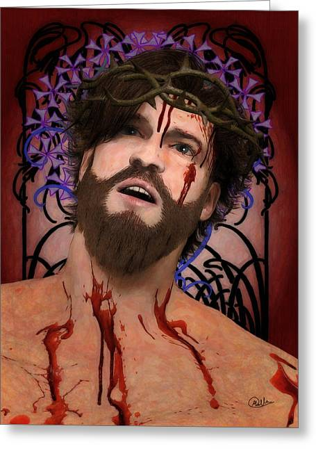 Holy Face Of Ecce Homo Greeting Card by Joaquin Abella