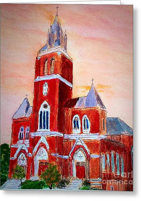 Amesbury Greeting Cards - Holy Family Church Greeting Card by Anne Sands