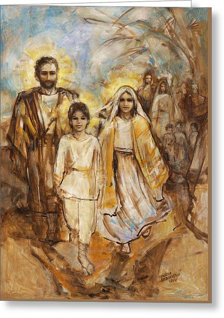 Recently Sold -  - Child Jesus Greeting Cards - Holy Family Approaching Jerusalem Greeting Card by Terezia Sedlakova Wutzay