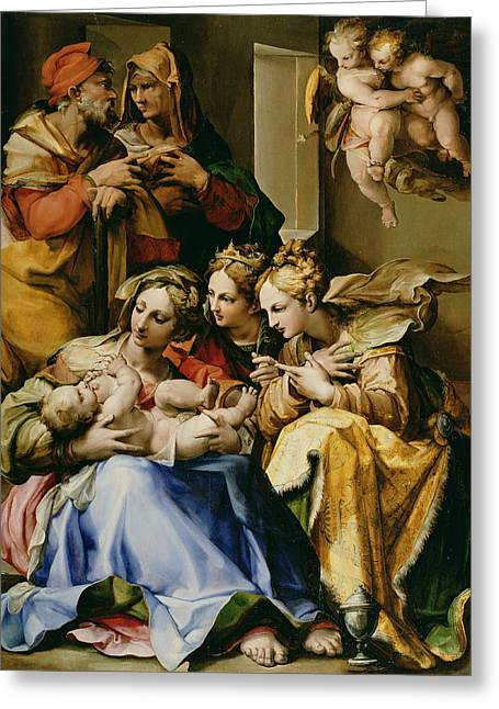 Christmas Greeting Greeting Cards - Holy Family with Saint Anne Catherine of Alexandria and Mary Magdalene Greeting Card by Nosadella