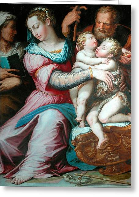 Virgin Greeting Cards - Holy Family with St John  Greeting Card by Giorgio Vasari