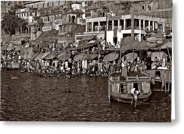 Holy Ganges Monochrome Greeting Card by Steve Harrington
