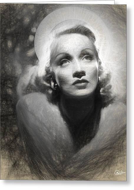 Holy Marlene Dietrich Draw Greeting Card by Quim Abella