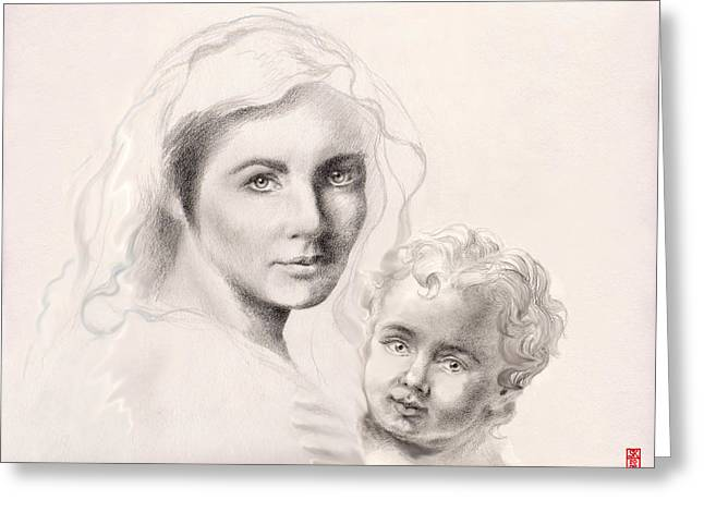Baby Jesus Drawings Greeting Cards - Holy Mary and Christ Child Greeting Card by Scott Kirkman