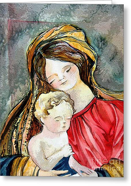 Holy Mother And Child Greeting Card by Mindy Newman