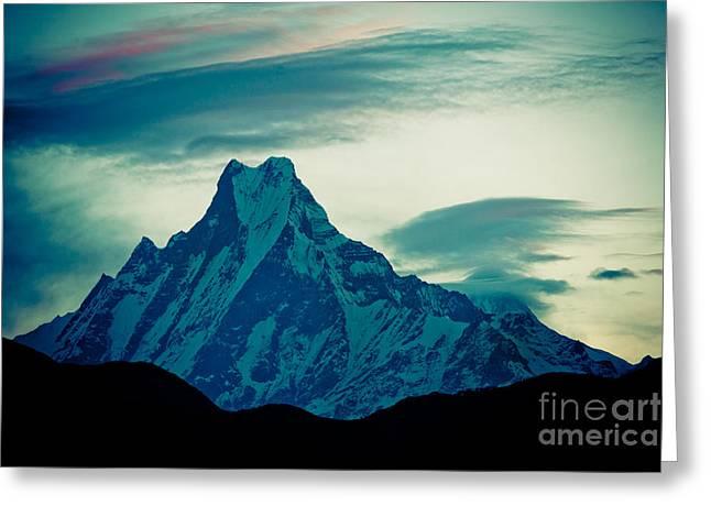 Holy Mount Fish Tail Machhapuchare 6998m Greeting Card by Raimond Klavins